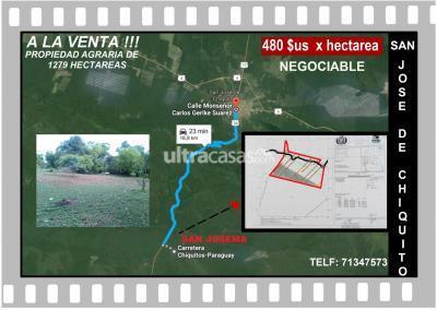 Terreno en Venta en San Jose San Jose  Vento excelente Propiedad a 16 km de San Jose  de chiquitos  1279 hectareas