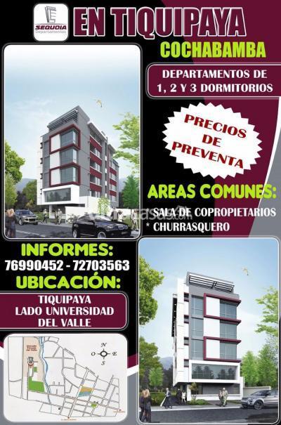 Departamento en Venta en Cochabamba Tiquipaya Lado universidad del valle