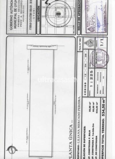 Terreno en Venta en Uyuni Uyuni Entre calles Fernando Alonso y Asunta Arostegui