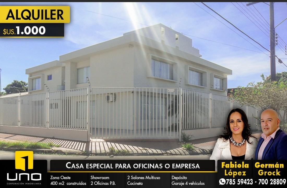 Casa en Alquiler ZONA AV. ROCA CORONADO ENTRE 2DO Y 3ER ANILLO, EXCLUSIVAMENTE PARA OFICINAS DE EMPRESAS Foto 1