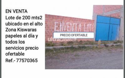 Terreno en Venta en El Alto Villa Adela Zona Kiswaras