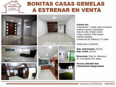 Casa en Venta en Santa Cruz de la Sierra 5to Anillo Norte Bonitas Casas Gemelas a Estrenar En Venta