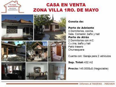 Casa en Venta en Santa Cruz de la Sierra 5to Anillo Este Casa en Venta Zona Villa 1ro. de mayo B/Hermenca